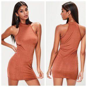Missguided Rust Slinky High Neck Sleeveless Dress